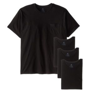 4 packs Hanes Men's Fresh IQ Pocket T-Shirt Size L